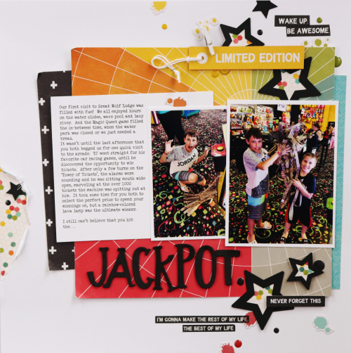 Scrapbook layout using Jillibean Soup's cut file and Rainbow Roux collection including patterned paper, foam stickers, epoxy stickers, washi sheets, and pea pod parts.  How to use foam stickers on a scrapbook layout.  Jillibean Soup scrapbooker.  #jillibeansoup #scrapbooker #scrapbooklayout #rainbowroux #cutfile #foamstickers