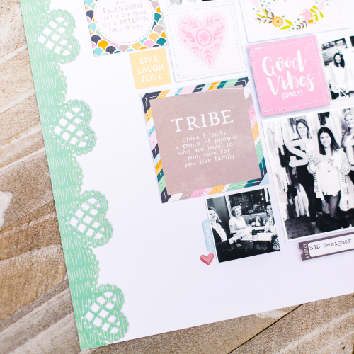 Scrapbook layout using Jillibean Soup's Spoonful of Soul collection including patterned paper, epoxy shapes, and pea pod parts.  Scrapbook layout using Spoonful of Soul.  Jillibean Soup scrapbooker.  #jillibeansoup #scrapbooker #scrapbooklayout #spoonfulofsoul