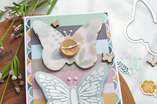 Stamped card using Jillibean Soup's Thankful Butterfly stamp and die set, Spoonful of Soul patterned paper, Spoonful of Soul clear stamps, and wood veneer butterflies.  How to stamp on a card.  Jillibean Soup cardmaking.  #jillibeansoup #cardmaking #stamping #spoonfulofsoul #thankfulbutterfly #stampanddieset