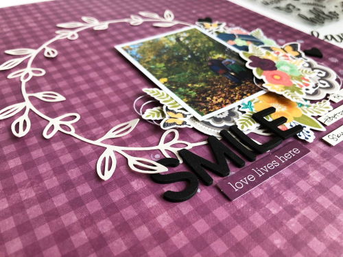 Scrapbook layout using Jilllibean Soup's cut file and Garden Harvest collection including patterned paper, foam stickers, pea pod parts, and clear stamps.  How to use a cut file on a scrapbook layout.  Jillibean Soup scrapbooker.  #jillibeansoup #scrapbooker #scrapbooklayout #cutfile #gardenharvest