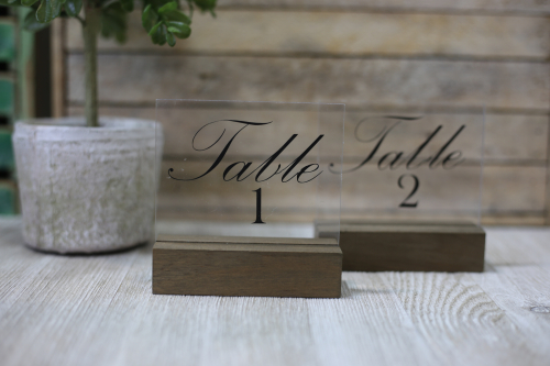 Wedding Table Numbers by Jill Yegerlehner for Jillibean Soup using Acrylic Frame Stands. #jillibeansoup #weddingtablenumbers #acrylicsign
