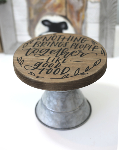 Adding Handwriting to a Wooden Cake Stand with Jill Yegerlehner from Jillibean Soup. #handwritten #handwriting #mixthemedia #woodencakestand #homedecordiy
