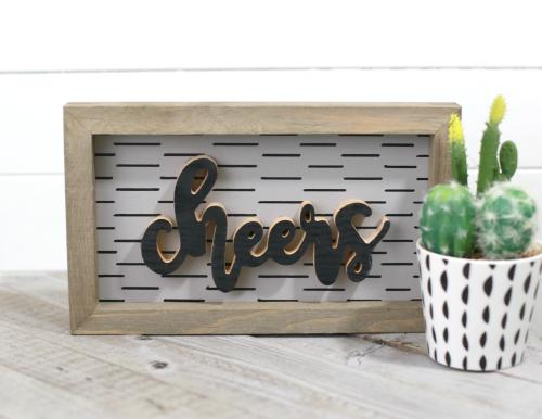 """Cheers"" Farmhouse Sign with Sharpie Pen detailing by Jill Yegerlehner with Jillibean Soup. #jillibeansoup #woodensign #sharpiepen"