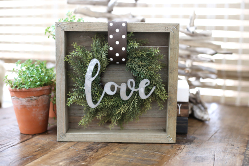 "Jillibean Soup Mix the Media Wooden Plank ""LOVE"" sign. #jillibeansoup #mixthemedia #woodensign #galvanizedsign"