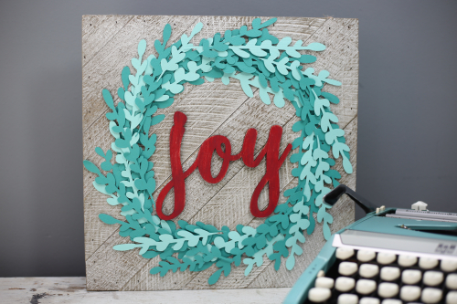 """Joy"" Christmas Wooden Sign with painted wooden word. #jillibeansoup #christmassign #farmhousechristmas #woodensign"