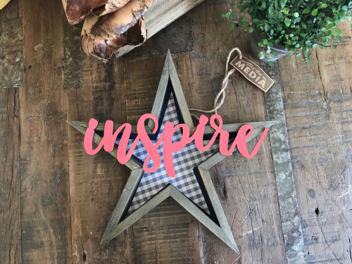 Wooden star sign with painted wooden word. #jillibeansoup #mixthemedia #woodenstar #star