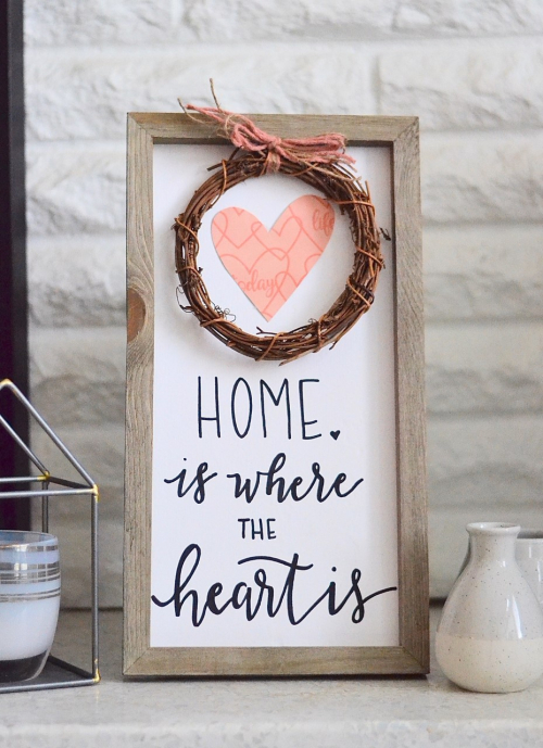 "Wooden ""Home Is Where the Heart Is"" sign. #jillibeansoup #mixthemedia #homedecor #woodensign"