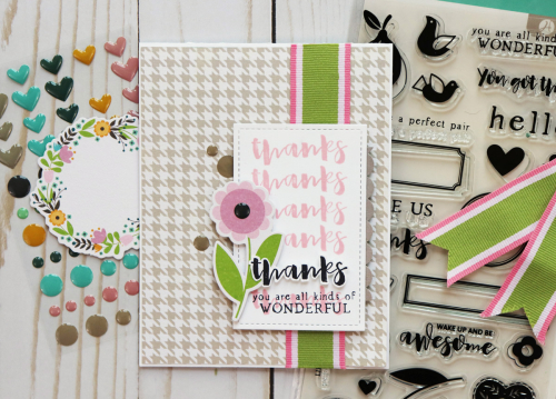 Card using Jillibean Soup's Spoonful of Soul collection including patterned paper, epoxy stickers, pea pod parts, and clear stamps.  How to use ribbon on a card.  Jillibean Soup cardmaking.  #jillibeansoup #cards #cardmaking #spoonfulofsoul #ribbon