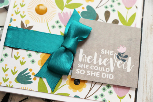 Card using Jillibean Soup's Spoonful of Soul collection including patterned paper and epoxy stickers.  How to use ribbon on a card.  Jillibean Soup cardmaking.  #jillibeansoup #cards #cardmaking #spoonfulofsoul #ribbon