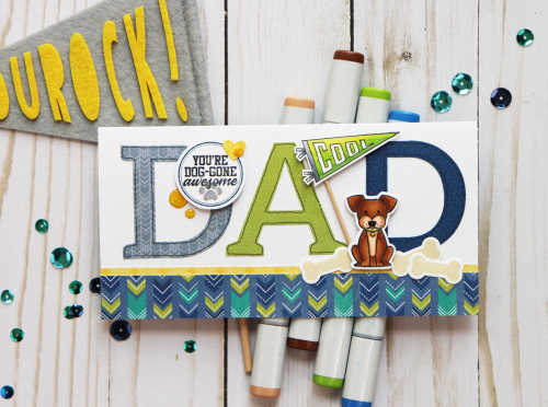Father's day card using Jillibean Soup's 2 Cool for School, Rainbow Roux, Spoonful of Soul, and Pawsome stamp and die set.  Father's day card ideas.  Jillibean Soup cardmaking.  #jillibeansoup #cardmaking #2coolforschool #rainbowroux #spoonfulofsoul #pawsome #stampanddiese