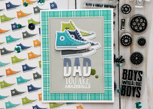 Father's day card using Jillibean Soup's 2 Cool for School, Rainbow Roux, All About Plaid paper pad, and alphabeans.  Father's day card ideas.  Jillibean Soup cardmaking.  #jillibeansoup #cardmaking #2coolforschool #rainbowroux #allaboutplaidpaperpad