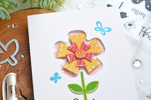Window card created using Jillibean Soup's Flower Thanks stamp and die set, Flower shaker card, and Rainbow Roux pea pod parts.  How to create a window card.  Jillibean Soup cardmaking.  #jillibeansoup #cards #cardmaking #window #flowerthanks #stampanddieset #flower #rainbowroux