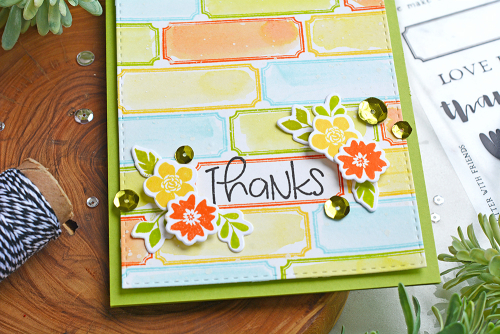 Stamped cards using Jillibean Soup's Spoonful of Soul clear stamps, stamp and die sets, and sequins. How to create a stamped background on cards.  Jillibean Soup cardmaking.  #jillibeansoup #cards #cardmaking #stamp #background #stampanddieset #spoonfulofsoul