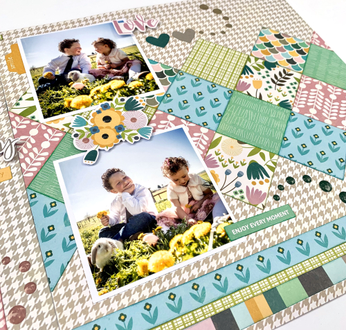 Scrapbook layout using Jillibean Soup's Spoonful of Soul collection inclduing patterned paper, epoxy stickers, and pea pod parts.  Jillibean Soup scrapbooker.  #jillibeansoup #scrapbooker #scrapbooklayout #spoonofsoul