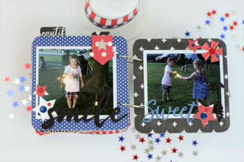 Mini album using Jillibean Soup's Rainbow Roux collection, All About Dots paper pad, All About Plaid paper pad, large circle shaker insert and card, shaker fillers, and cut files.  Patriotic mini album.  Jillibean Soup projects.  #jillibeansoup #minialbum #cutfile #rainbowroux #largecircle #shaker