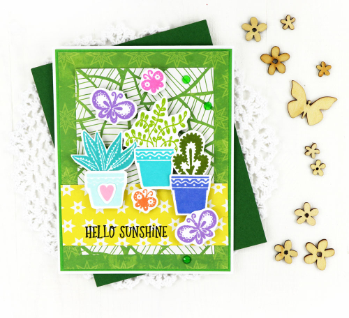 Stamped card using Jillibean Soup's Garden Harvest patterned papers, You Make MISO Happy patterned papers, and stamps including Jar Goodness, Flower Bloom, Spin Wheel, and You Make MISO Happy.  Versatile sentiments and images.  Jillibean Soup cardmaking.  #jillibeansoup #stamping #cards #cardmaking #gardenharvest #youmakemisohappy #jargoodness #flowerbloom #spinwheel
