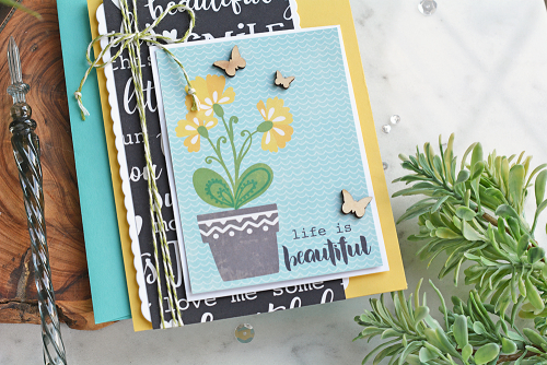 Card created with Jillibean Soup's You Make Miso Happy patterned paper and butterfly wood veneers.  One color scheme, three cards.  Jillibean Soup cardmaking.  #jillibeansoup #cardmaking #cards #youmakemisohappy #butterflies