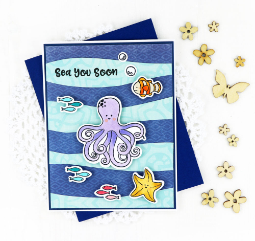Card created with Shaker Octopus stamp and You Make Miso Happy patterned paper.  Creating a card scene.  Jillibean Soup cardmaking.  #jillibeansoup #cardmaking #cards #scene #octopus #stamp #youmakemisohappy