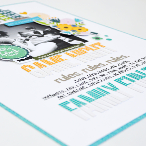 Scrapbook layout using Jillibean Soup's Alphabeans and the Spoonful of Soul collection including patterned paper, pea pod parts, and epoxy stickers.  Alpha stickers on a scrapbook layout.  Jillibean Soup scrapbooker.  #jillibeansoup #scrapbooker #layout #alphabeans #spoonfulofsoul