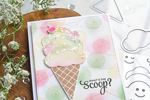 Stamped card using Jillibean Soup's Ice Cream shaker stamp and die set.  How to stamp on a card.  Jilllibean Soup cardmaking.  #jillibeansoup #cardmaking #cards #stamp #icecream #stampanddieset