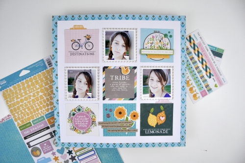 "How to scrapbook a grid design video tutorial with Jen Gallacher for Jillibean Soup. Features the ""Spoonful of Soul"" collection. #jillibeansoup #scrapbooklayout"
