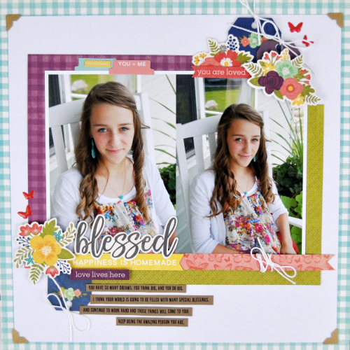 """Blessed"" Garden Harvest Scrapbooking process video with Jen Gallacher for Jillibean Soup. #scrapbook #scrapbooklayout #jillibeansoup #jengallacher"