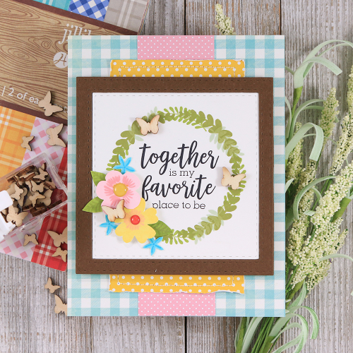 Card created with Jillibean Soup's Garden Harvest stamp set and enamel dots, All About Dots paper pad, All About Plaid paper pad, and shaker fillers.  Jillibean Soup cardmaking.  #jillibeansoup #cardmaking #gardenharvest #stamp #allaboutdotspaperpad #allaboutplaidpaperpad #enameldots