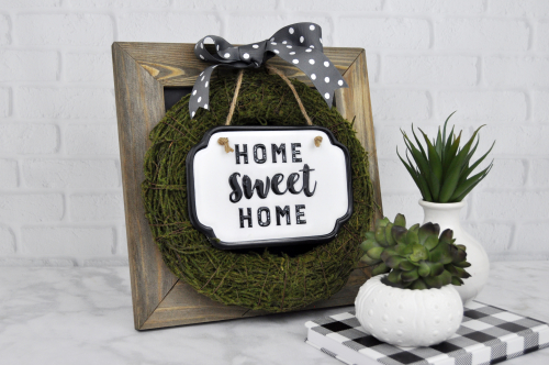 Home decor mix the media project using Jillibean Soup's 12 x 12 chalkboard.  How to make a home decor project with mix the media.  Jillibean Soup Mix the Media.  #jillibeansoup #mixthemedia #homedecor #project #chalkboard