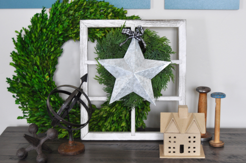 Galvanized Star in Vintage Window by Jen Gallacher for Jillibean Soup