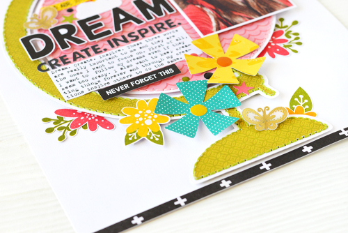 Scrapbook layout using Jillibean Soup's You Make Miso Happy collection, Rainbow Roux collection, Garden Harvest patterned paper, All About Dots paper pad, and All My Happy stamp and die set.  Add your selfie to a scrapbooking layout.  #jillibeansoup #scrapbooker #scrapbooklayout #rainbowroux #youmakemisohappy #gardenharvest #allaboutdotspaperpad #allmyhappy #selfie
