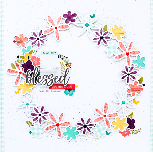 Layout using Jillibean Soup's cut file and the Garden Harvest collection including patterned paper, enamel shapes, coordinating cardstock stickers, and pea pod parts.  Fun with enamel shapes.  Jillibean Soup scrapbooker.  #jillibeansoup #scrapbooker #scrapbooklayout #gardenharvest #cutfile #enamelshapes
