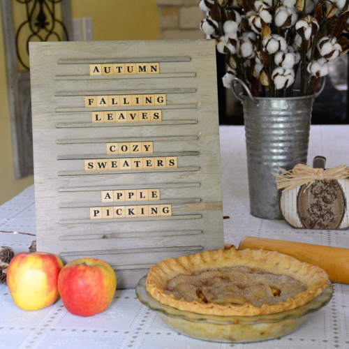 Harvest Themed Letter Board using Jillibean Soup's Letterboard Kit.  Harvest themed letter board.  Jillibean Soup Mix the Media.  #jillibeansoup #mixthemedia #letterboard #projects
