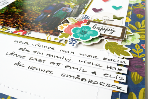 Family themed scrapbook layout using Jillibean Soup's Garden Harvest collection including patterned paper, coordinating label stickers, pea pod parts, and epoxy stickers.  Family themed scrapbooking layout.  Jillibean Soup scrapbooker.  #jillibeansoup #scrapbooker #scrapbooklayout #gardenharvest #family