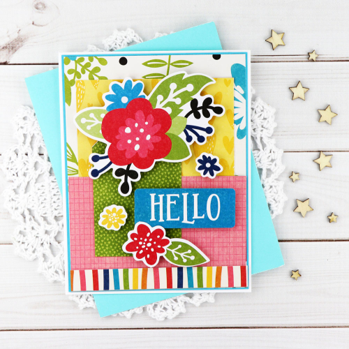 Card created using Jillibean Soup's Rainbow Roux collection, including patterned paper and pea pod parts.  Jillibean Soup cardmaking.  #jillibeansoup #cardmaking #rainbowroux