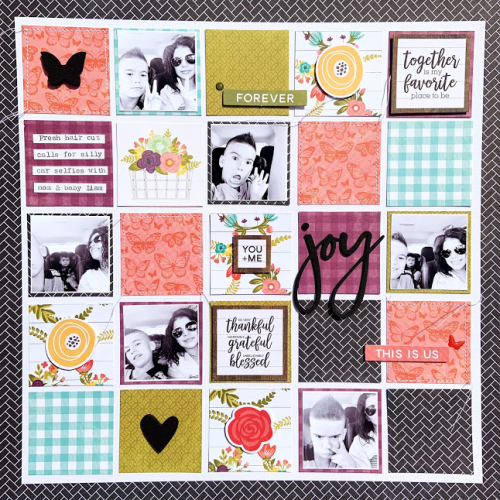 Scrapbook layout using Jillibean Soup's Garden Harvest collection including patterned paper, epoxy stickers, cardstock stickers, and foam stickers.   Using more than one photo on a scrapbooking layout.  Jillibean Soup scrapbooker.  #jillibeansoup #scrapbooker #scrapbooklayout #gardenharvest