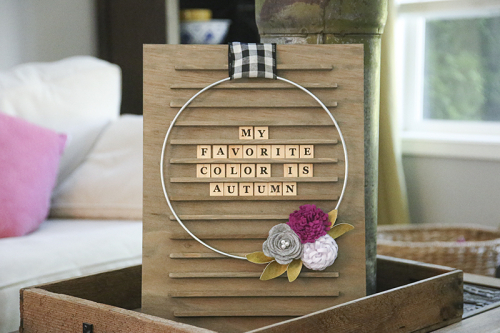 Home decor Mix the Media project using Jillibean Soup's Garden Harvest patterned paper, felt flowers, and Letter Board Kit.  Fall Letter board decorations.  Jillibean Soup Mix the Media.  #jillibeansoup #mixthemedia #homedecor #project #gardenharvest #feltflowers #feltflowers #letterboardkit