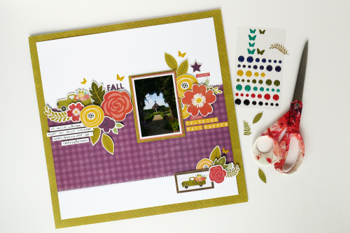 Scrapbooking layout using Jilllibean Soup's Mason Jar stamp and die set, Sew Sweet Sunshine Soup mini alpha stickers, and Garden Harvest collection including patterned paper, coordinating label stickers, pea pod parts, and epoxy stickers.  Using die cut or hand-cut leaves on a scrapbooking layout.  Jillibean Soup scrapbooker.  #jillibeansoup #scrapbooker #scrapbooklayout #gardenharvest #diecut #leaves