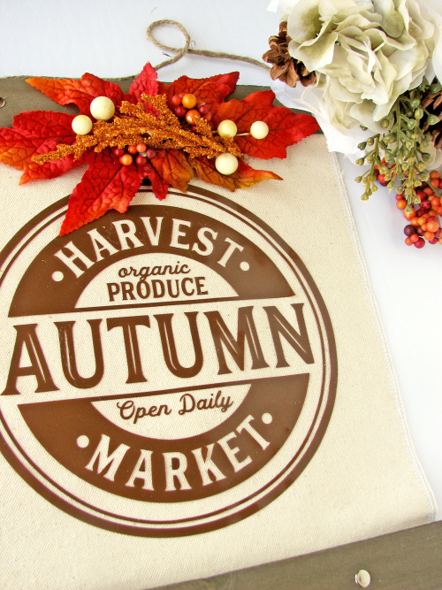 Mix the Media home decor project using Jillibean Soup's 12 x14 hanging canvas and a cut file.  Harvest themed Mix the Media project.  Jillibean Soup Mix the Media.  #jillibeansoup #mixthemedia #homedecor #project #hangingcanvas #cutfile #harvestthemed