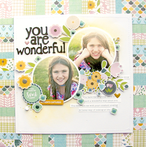 Scrapbook layout using Jillibean Soup's Spoonful of Soul collection including patterned paper, pea pod parts, foam stickers, and epoxy dots.  How to creatively add paper strips to a scrapbook layout.  Jillibean Soup scrapbooker.  #jillibeansoup #scrapbooker #scrapbooklayout #spoonfulofsoul #paperstrips #tutorial #video
