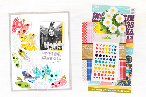 Scrapbook layout using Jillibean Soup's Rainbow Roux collection, You Make Miso Happy collection, Garden Harvest collection, Spoonful of Soul collection.  How to alter die cut shapes.  Jillibean Soup scrapbooker.  #jillibeansoup #scrapbooker #scrapbooklayout #diecutshapes #rainbowroux #youmakemisohappy #gardenharvest #spoonfulofsoul