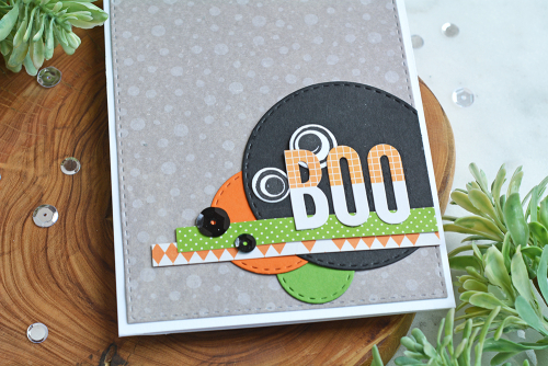 Card using Jillibean Soup Monster clear stamp, Rainbow Roux patterned paper, All About Dots paper pad and orange grid Alphabeans.  Halloween themed cards.  Jillibean Soup cardmaking.  #jillibeansoup #cardmaking #cards #monster #stamp #rainbowroux #allaboutdotspaperpad #alphabeans #halloween