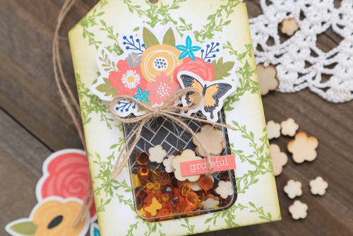 Card and tag set using Jillibean Soup's jar shape shaker cards and tags, fillers, and the Garden Harvest collection including patterned paper, washi tape, coordinating stickers, and pea pod parts.  Fall in a jar card and tag set.  Jillibean Soup cardmaking.  #jillibeansoup #cardmaking #cards #tag #jar #shapeshaker #fall #gardenharvest