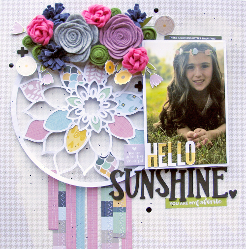 Scrapbook layout with tutorial video using Jillibean Soup's cut file, Spoonful of Soul collection, felt flowers and Rainbow Roux collection.  How to create use a cutfile on a scrapbook layout.  Jillbean Soup scrapbooker.  #jillibeansoup #scrapbooker #scrapbooklayout #cutfile #spoonfulofsoul #rainbowroux #tutorialvideo #feltflowers