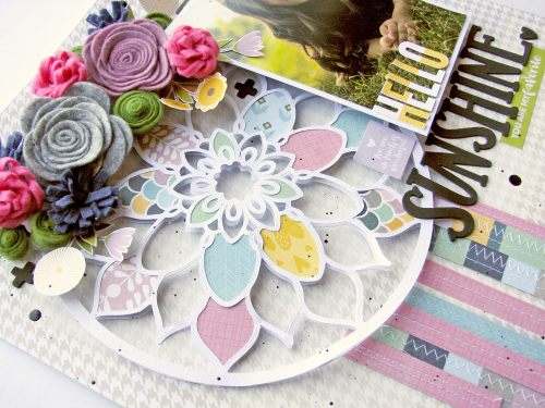 Scrapbook layout with tutorial video using Jillibean Soup's cut file, Spoonful of Soul collection, felt flowers, and Rainbow Roux collection.  How to create use a cutfile on a scrapbook layout.  Jillbean Soup scrapbooker.  #jillibeansoup #scrapbooker #scrapbooklayout #cutfile #spoonfulofsoul #rainbowroux #tutorialvideo #feltflowers