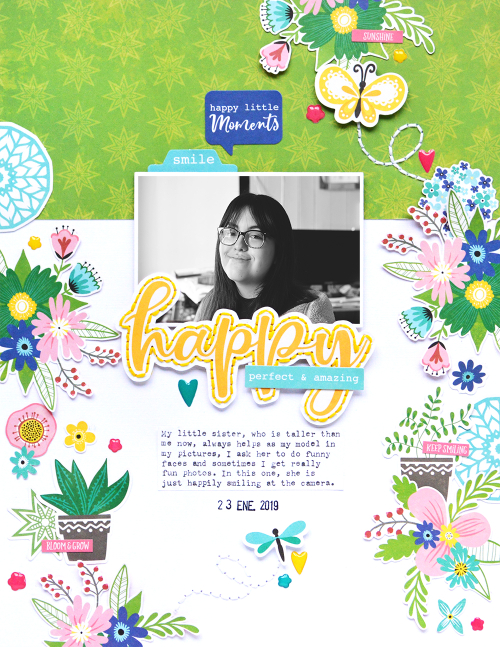 Scrapbook layout using Jillibean Soup's You Make Miso Happy collection including patterned paper, pea pod parts, epoxy stickers, and coordinating stickers.  How to hand stitch on a scrapbook layout.  Jillibean Soup scrapbooker.  #jillibeansoup #scrapbooker #scrapbooklayout #youmakemisohappy #handstitching