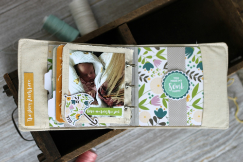 Mini album using Jillibean Soup's All About Dots paper pad and Spoonful of Soul collection including patterned paper, pea pod parts, epoxy stickers, washi stickers, and coordinating stickers.  How to create a mini album with Spoonful of Soul.  Jillibean Soup mini album.  #jillibeansoup #minialbum #spoonfulofsoul #allaboutdotspaperpad