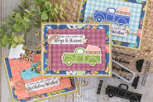 Stamped card using Jillibean Soup's Garden Harvest patterned paper, fillers, and A Little Pickup stamp and die set.  How to stamp on a card.  Jillibean Soup cardmaking.  #jillibeansoup #cardmaking #gardenharvest #alittlepickup #stampanddieset #stamping