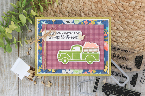 Stamped card using Jillibean Soup's Garden Harvest patterned paper, fillers, and A Little Pickup stamp and die set.  How to stamp on a card.  Jillibean Soup cardmaking.  #jillibeansoup #cardmaking #gardenharvest #alittlepickup #stampanddieset