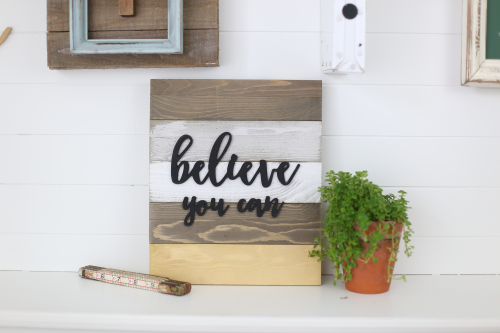 Jillibean Soup Wooden Plank stained and painted. #woodensign #farmhousedecorations #mixthemedia #jillibeansoup