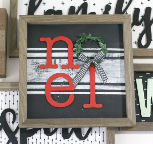 Noel Framed Wooden Rustic Christmas Sign #jillibeansoup #mixthemedia #christmascraft #christmassign